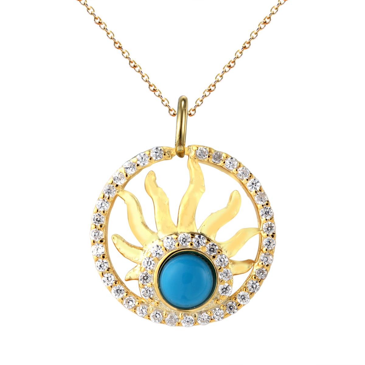wholesale round 925 sterling silver pendant with turquoise and cz