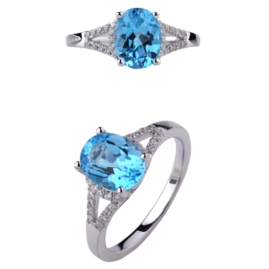 Fine 925 Sterling Silver Blue Topaz Ring