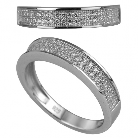 Cubic Zirconia Micro Pave Ring in Sterling Silver