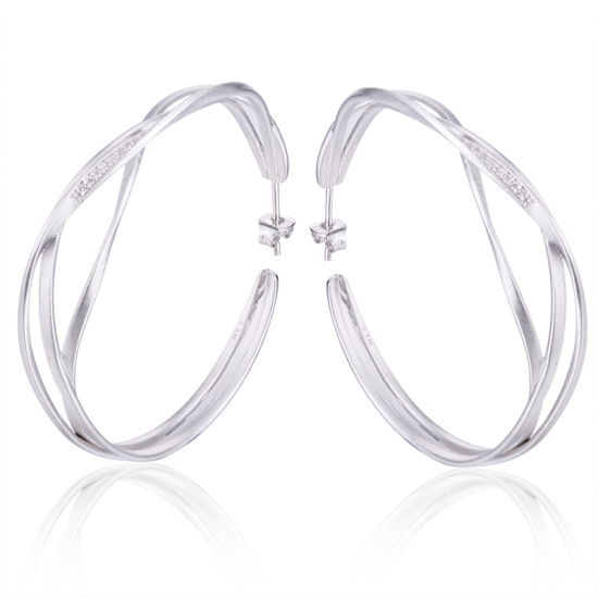 Silver Hoop Earring Trend with Sand Finish Surface