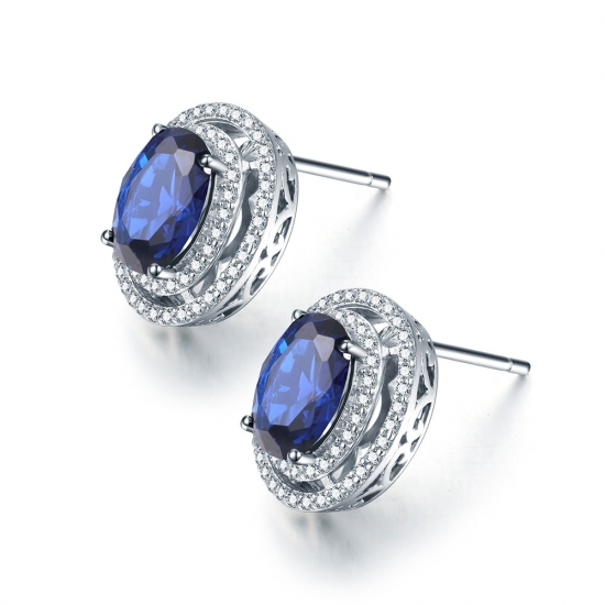 Oval-Cut Blue CZ Stud Earrings in 925 Silver
