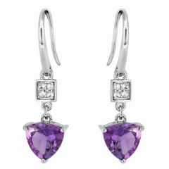 Trangle Amethyst Drop Earring