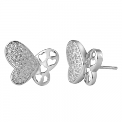 Heart shape CZ earrings