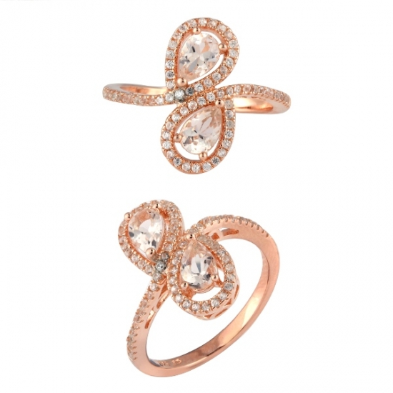 Rose Gold Plated Silver Morganite Ring with White Cubic Zircon