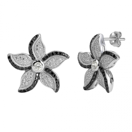 Leaf Shape Micro Pave Setting 925 Silver Earrings With Black Spinel