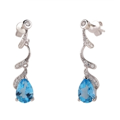 Blue Topaz Hanging Earrings