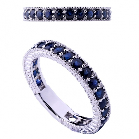 Round Sapphire Silver Band Ring for Woman
