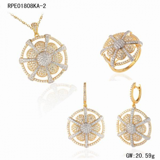 Wholesale Women Dubai Gold Jewelry Set Design in 18K real goldWomen