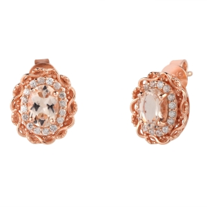 Rose Gold Stud Morganite Earrings
