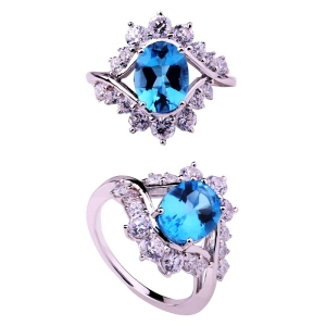 Big Mouth Shape Blue Spinel Ring