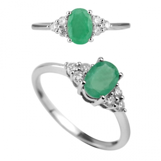 10K White Gold Engagement Emerald Ring with Diamond