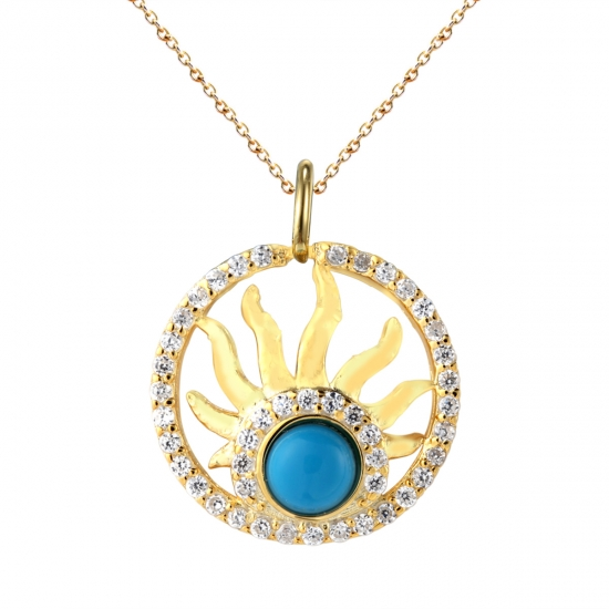 Round 925 sterling silver pendant with turquoise and CZ