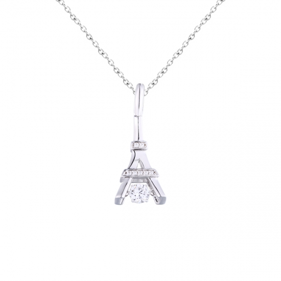 925 Sterling Silver Eiffel Tower Shape Dancing Stone Pendant Jewelry