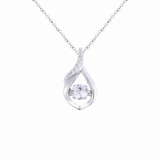 925 Sterling Silver Dancing Stone Drop Pendant Necklace