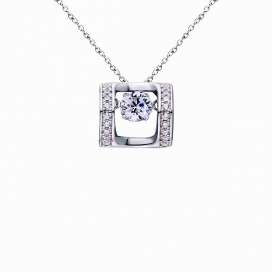 Sterling Silver Dancing Pendant Square Shape White CZ Pendant Jewelry
