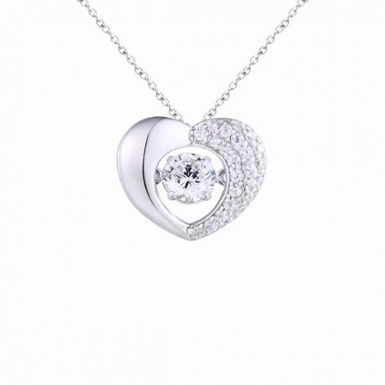 925 Sterling Silver Dancing Stone Pendant Heart Shape With AAA CZ Jewelry For Valentine's Day